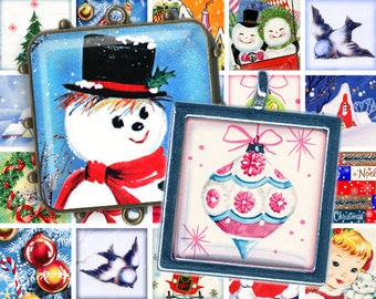 Retro Vintage Christmas Collage Sheet filled with Mid-Century Snowmen, Santa Claus, Birds in 1.5 inch Squares; digital images by piddix 824
