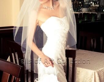 Soft French Tulle Wedding Veil Fingertip, Bridal Veil VE182