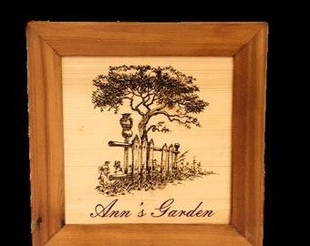 Laser engraved wood sign 14x14