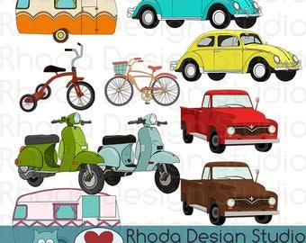 Transporation Bundle: Vintage Pickup Truck Volkswagon Beetle Bikes Moped Stamp Digital Clip Art Retro