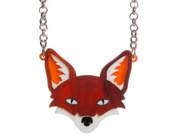 Fox necklace - laser cut acrylic perspex tortoiseshell marble garden urban vulpes stop the hunt