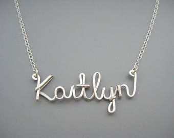 Cursive Name Necklace - personalized handwriting word with delicate sterling silver chain, new grandma and wedding name gift