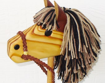 Stick Horse Toy - Brown Beige Black with Rust Reigns - Stick Pony - Hobby Horse