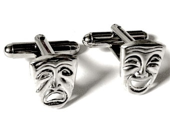 Silver Drama Masks Theater Cufflinks, Men's Handcrafted Tragedy Comedy Cuff Links- Groom Wedding Prom Gift for Man, Stage Actor