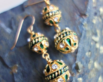 India Emerald Gold Crystal Earrings
