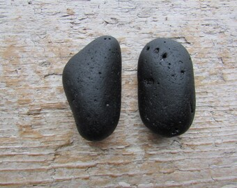 Large Black Slag BEACH GLASS Cabinet Knobs Sea Glass Drawer Pulls