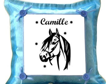 Blue cushion horse personalized with name