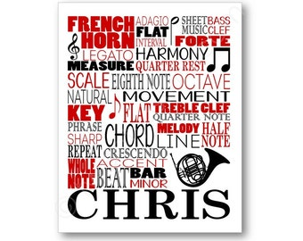French Horn Typography Poster, French Horn Player Art, French Horn Player Gift, Band Member Gift, French Horn Gift, French Horn Canvas