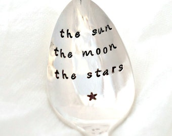 the sun the moon the stars. Stamped Spoon. Vintage Spoon. Coffee Spoon. Tea Spoon. Foodie Gift. Valentine's Day Gift. Coffee Lover Gift.
