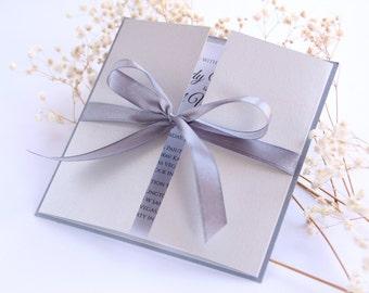 SAMPLE, Square Wedding Invitation, Silver Wedding Invitation, Grey Wedding Invitation, Romantic Wedding Invitation, Gate Wedding Invitation