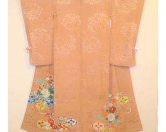 Pink Peony - Antique Japanese Silk Kimono Semi Formal Single Crested Irotomesode Women Silk