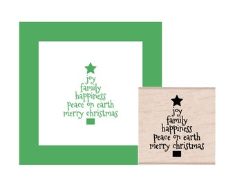 Christmas Tree Joy Family Happiness Peace on Earth Merry Christmas Rubber Stamp
