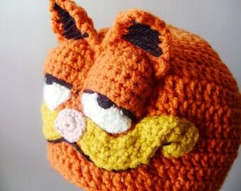 Crochet Garfield Hat - crochet animal costume hats for boys or girls - winter hats - crochet beanies for men or women