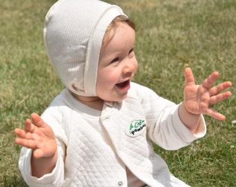 Organic Organic Baby cap/bonnet/baby bonnet organic cotton//Pamboo label