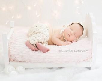 Crochet Bonnet and Pants Set - Newborn Photo Prop - Vintage Baby Outfit