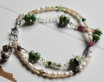 Rare Green Alunite, Pearls, Gemstone Bracelet~Double Strand Utah Variscite Bracelet~ Gift Ideas For Mom~
