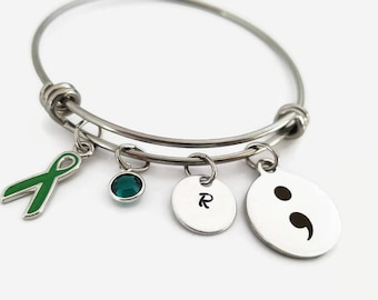 Semicolon bangle - Charm bracelet - adjustable bangle bracelet - personalized jewelry