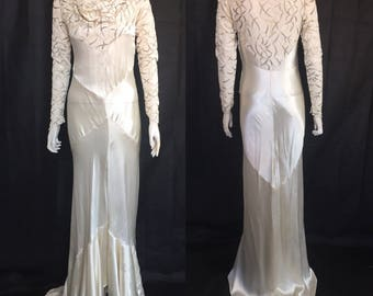1930s bias cut wedding dress with cowl neck