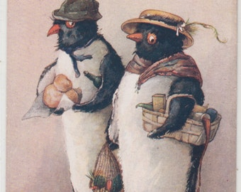 Charming Raphael Tuck,Dressed Penguins Shopping,Guinnipen's Saturday Night