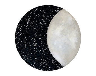 Moon and Stars 12 - Archival 8x10 Art Print - Contemporary Watercolor Painting - Astronomy, Night Sky - by Natasha Newton