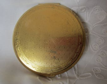 Stratton Compact Vintage With Gold Design Make Up Case Hand Held Mirror