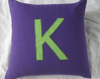 Monogrammed pillow letter pillow. Purple and green Alphabet pillows  decorative Initial pillows .  monogram. Custom made