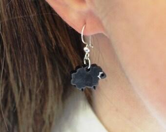 Black Sheep Earrings,Plexiglass Jewelry,Lasercut Acrylic,Gifts Under 25
