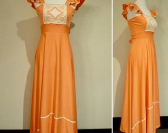 Vintage 70s Prairie Style Peach Pinafore Maxi Dress with Angel/Butterfly Sleeves