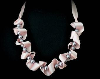 Light pink Swarovski pearl necklace with silk ribbon- aNella Designs