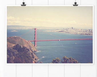 San Francisco Photography, Golden Gate Bridge wall art print, San Francisco Art Print, Golden Gate Bridge Aerial Photo, canvas wall art