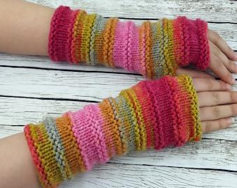 Fingerless Gloves Hand Knit Arm Warmers