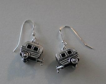 Sterling Silver 3d SHASTA, SCOTTY CAMPER Earrings - Glamper