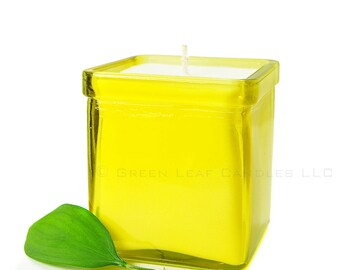 Soy Candle - Recycled Glass Container Candle - Yellow Candle