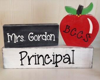 Personalized Teacher Gift SEPARATE BLOCKS, Teacher Desk Name Plate, Personalized Teacher Gift Name Plate, Personalized School Gift
