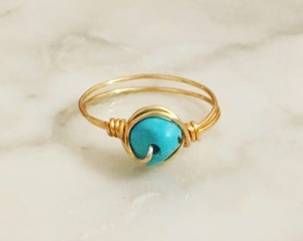 Gold Turquoise Gemstone ring • Turquoise ring • Gemstone ring • Boho ring • Gold ring
