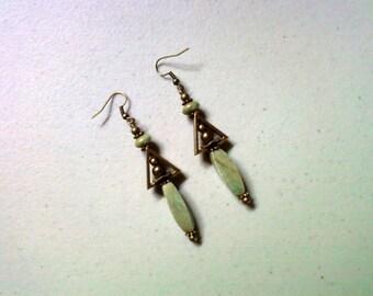 Pale Green Stone Earrings (1477)
