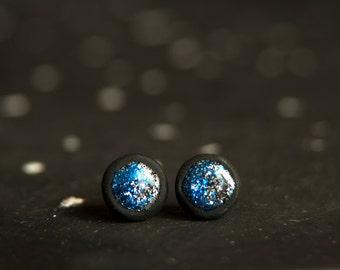 Christmas In July. Glitter Stud Earrings, Glitter Studs, Ear Studs,  Mens Earrings, Tiny Ear Posts, Silver Stud Earring, Glitter Ear Posts