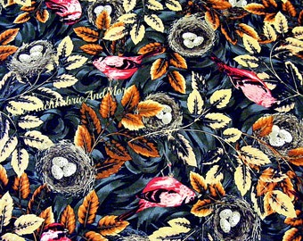 Birds & Bird nests Fabric~By the yard~Flutter~Wildlife~Rustic leaves~Nature~cotton~Alex Anderson~RJR