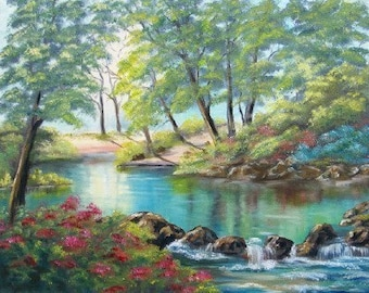 Aceo Peaceful River Reproduction of original oil painting