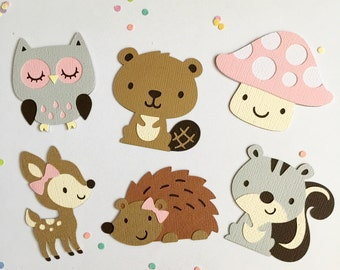 Woodland Themed Die Cuts - Set of 12 - Baby Girl