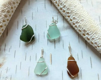 MINIS Handmade Okinawan miniature dainty sea glass pendant sterling silver Mother's day gift for her sea glass charms