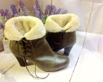 Ankle  Boots,Furry warm,leather, cuffed ,High heel,wedge