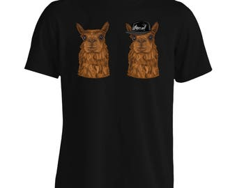 Alpaca Hipster Character Funny Smile Men's T-Shirt g679m