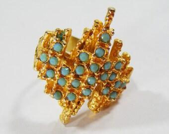 Vintage Large Gold w/ Blue Stones Adjustable Costume Ring
