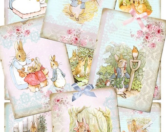 """Peter Rabbit Collage Sheets Instant Download Nine 2.5x3.5"""" Beatrix Potter Peter Rabbit Graphics, Images Clipart Personal & Commercial Use"""