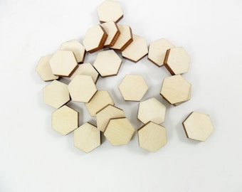 Wood Hexagon Stud Earrings Bead 10mm Tiles Shapes Jewelry Making - 25 Pieces