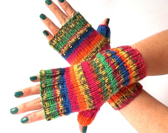 Multicolor Knit Fingerless Gloves. Knitted Fingerless Mittens. Colorful Arm Warmers. Wrist & Hand Warmers. Women Accessories.