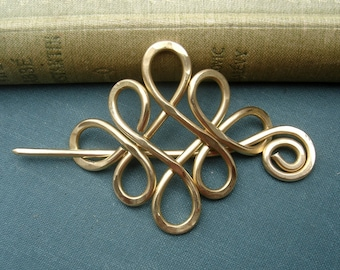 Brass Celtic Shawl Pin, Looping Crossed Knots Scarf Pin, Sweater Clip Brooch, Hair Pin, Gifts for Knitters Knitting Accessories, Women