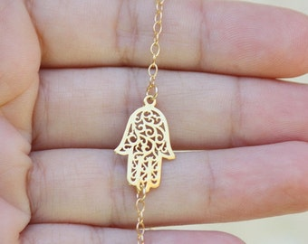 Hamsa necklace / Simple Necklace with Hamsa Hand / Delicate Gold Layering Necklace / Gold filled necklace simple necklace
