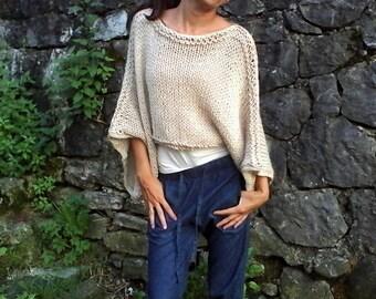 Beige sweater / handknit sweater/ knit poncho/crop sweater/ soft cozy sweater
